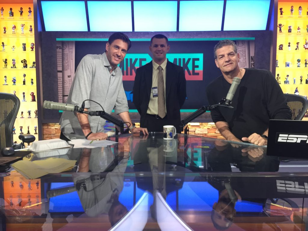 USBLN mentee was able to visit the ESPN office with his mentor. He was also able to meet with the hosts of ESPN's Mike and Mike Radio Show.