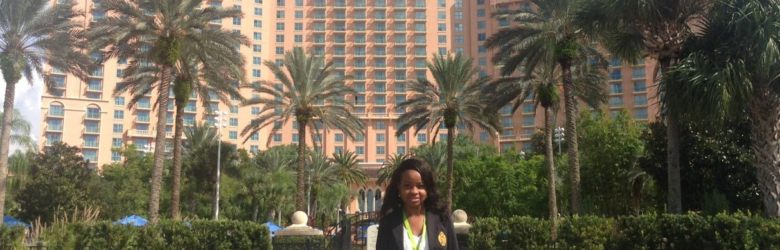 Chidera Oku in front of the Marriott hotel in Orlando