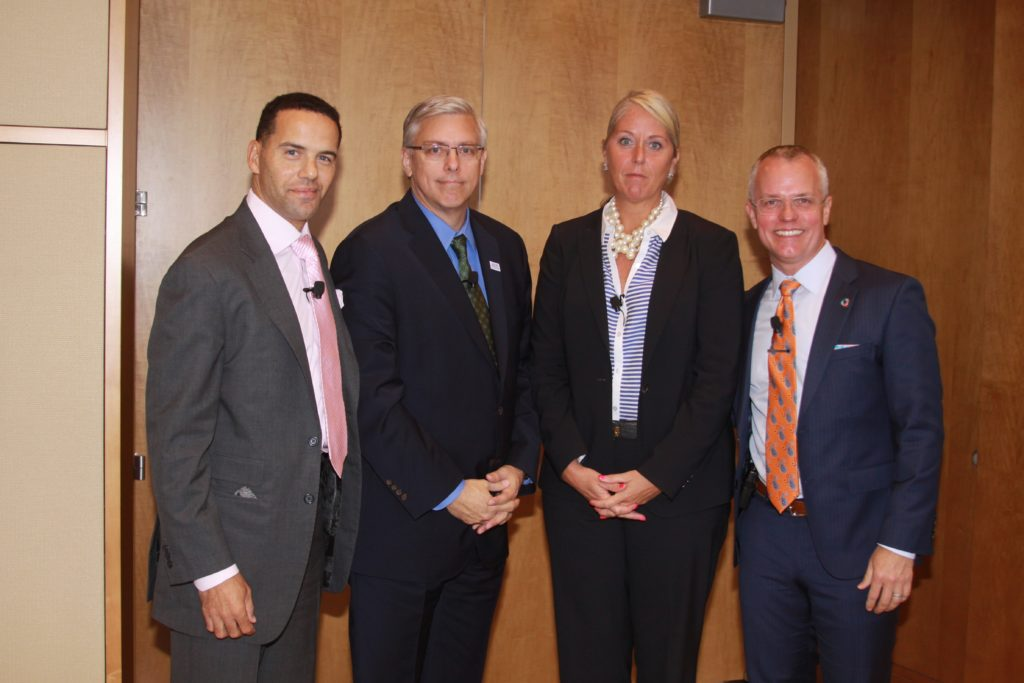 Photo of Steve Pemberton, Vice President of Diversity & Inclusion and Global Chief Diversity Officer, Walgreens Boots Alliance, Steve Solomon, Vice President, Corporate Relations, Exelon, Jill Houghton, President and CEO, USBLN, Scott Hoesman, Founder, Inquest Consulting